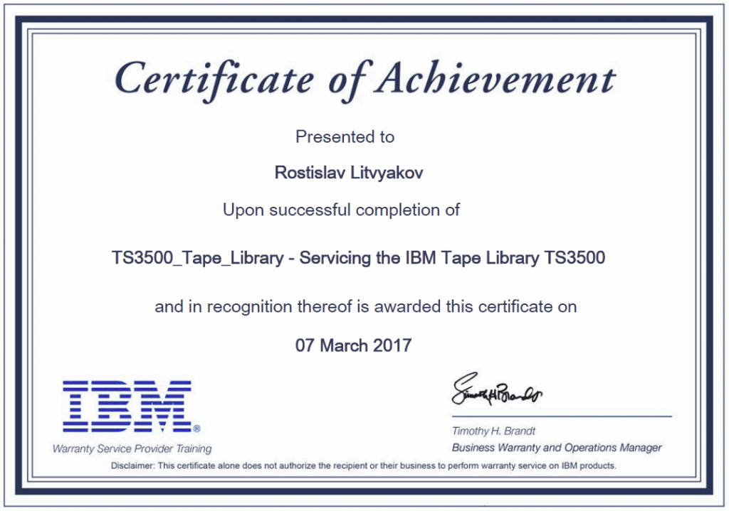 Servicing the IBM Tape Library TS3500